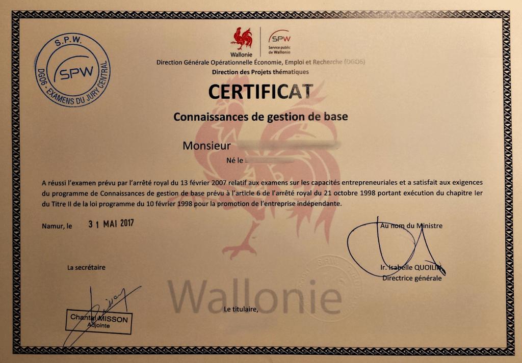 certificat de connaissances en gestion de base - jury central
