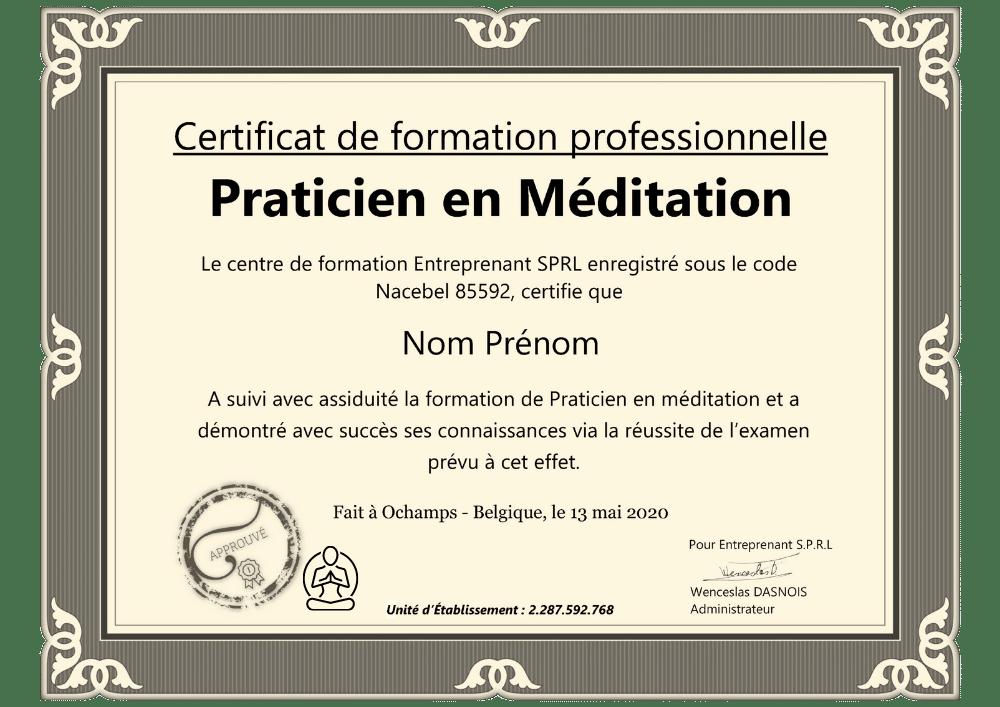 Certificat professionnel formation praticien en méditation