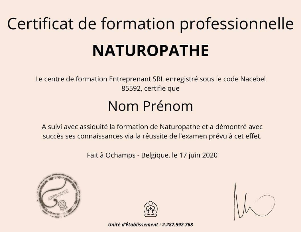 Certificat professionnel Naturopathe