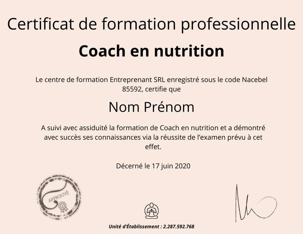 Certificat de formation professionnelle coach en nutrition